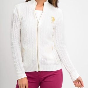 U.S. POLO ASSN SWEATER white color gold embroider